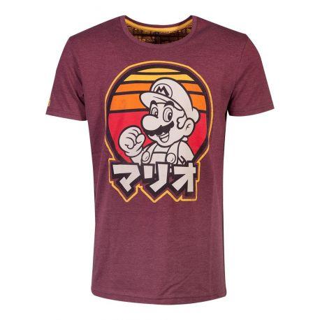 T shirt Mario Retro rouge avec écritures chinoises