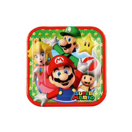 Anniversaire Mario : 8 assiettes en carton Super Mario