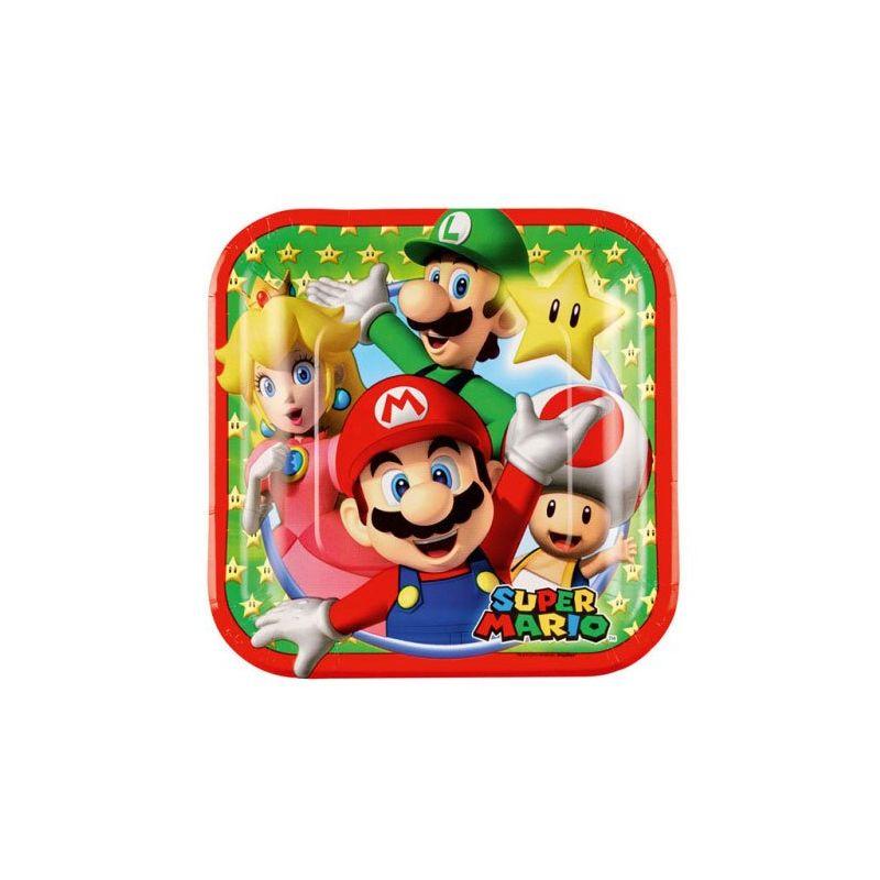 8 Assiettes En Carton Super Mario Theme Mario