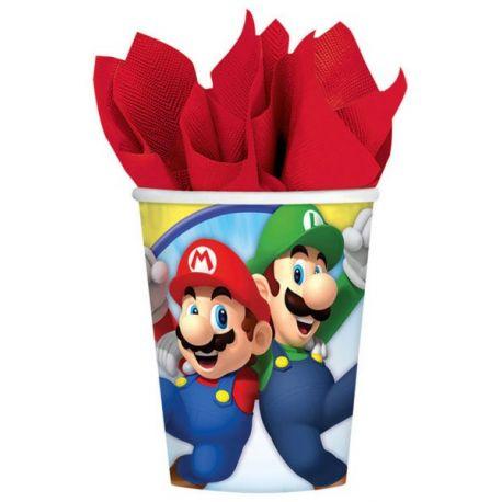 Anniversaire Mario : 8 gobelets Super Mario