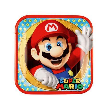8 assiettes Super Mario 23 cm - Anniversaire Mario