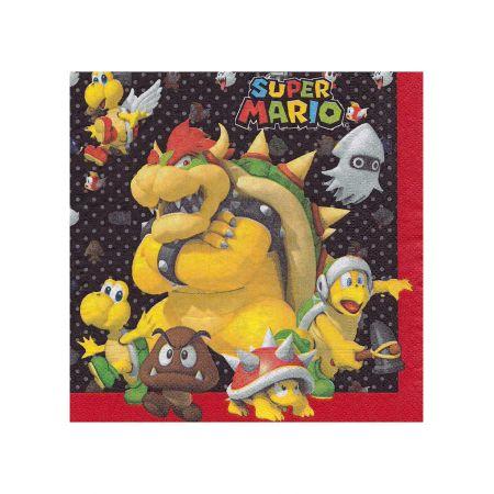 Anniversaire Mario : 20 serviettes en papier Super Mario
