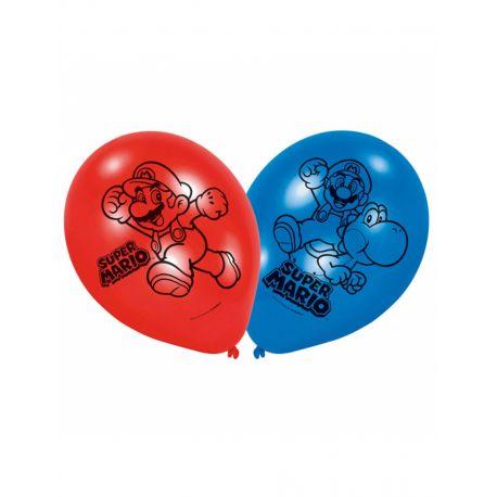 Anniversaire Mario : 6 ballons latex Super Mario