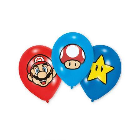 Anniversaire Mario : 6 ballons latex Mario, Toad et étoile jaune