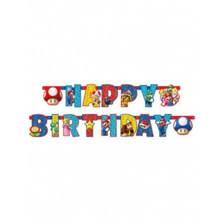Guirlande lettres Happy Birthday Super Mario