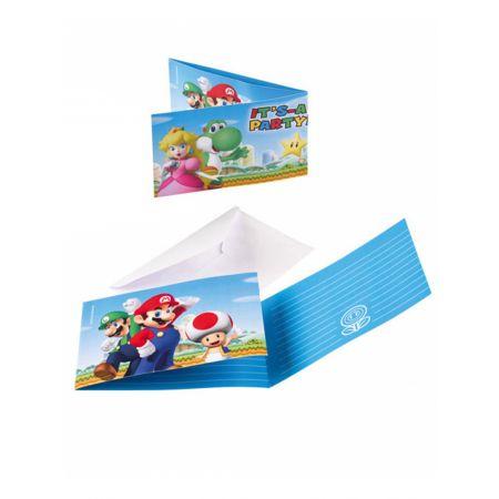 8 invitations et enveloppes Super Mario - Anniversaire Mario