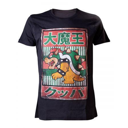 T-shirt Bowser noir avec écritures japonaises - Super Mario