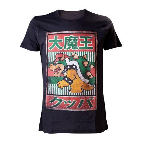 T-shirt noir Bowser avec écritures chinoises - Super Mario